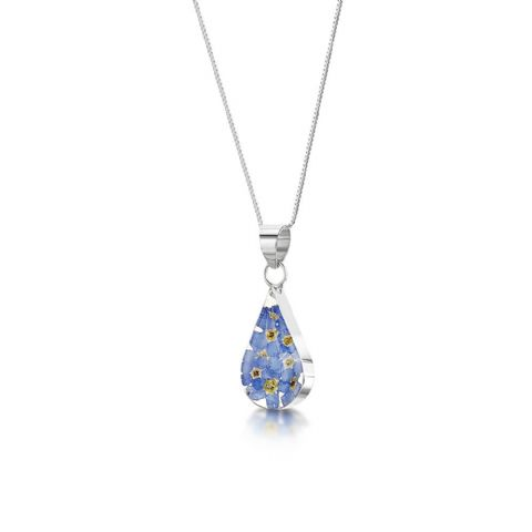 Silver Forget me Not Ring Pendant Necklace